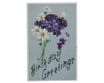 """FREE SHIPPING: Antique Vintage """"Birthday Greetings"""" Embossed Purple Lilacs and White Daisies Glitter Postcard"""
