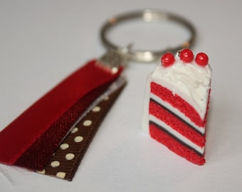 Keychain gradient red realistic polymer clay cake