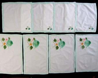 Set of Four Vintage Embroidered Placemats, 4  Napkins, Cotton Floral Appliqued Placemats with Napkins (cv1630)