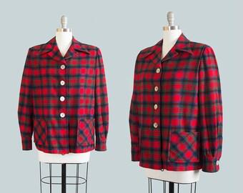Vintage 1950s Pendleton 49er Jacket | 50s Plaid Wool Red Abalone Buttons Sport Jacket (large)