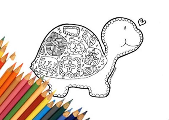 Tartaruga da colorare stampabile bambini adulti mandala doodle for Zentangle per bambini