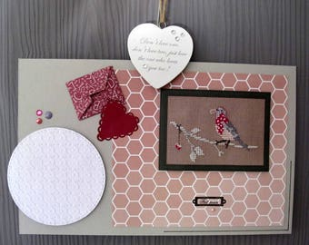 """Painting """"bird in the envelope"""" style scrapbooking"""