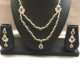 Green Necklace, emerald necklace set, hyderabadi hewelry set, Necklace,Indian Wedding Jewelry,Statement Necklace, Emerald Necklace