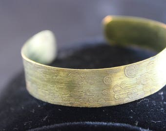 Etched Brass Cuff Bracelet (05212017-033)