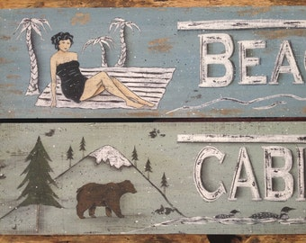 Beach or Cabins art print decor. Retro vintage style, rustic distressed. Woods Lake Ocean Cottage. Arrows, woman, bear, loons. Donna Atkins