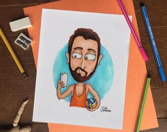 Waist up Portrait, Personal Portrait, Custom Portrait, Custom Illustration, Portrait Cartoon, Art Decor, Wall Art -Digital file only-