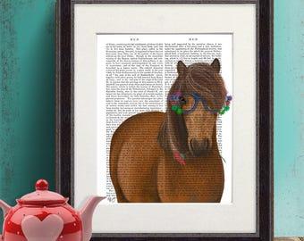 Horse Lover - Horse and flower glasses - Horse decor art Gift for horse lover Horse art canvas Horse print Horse art decor Pony print art