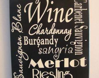 Subway Art Wine List  Wood Sign with Vinyl Lettering
