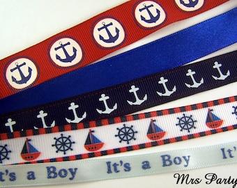 5 Yards Variety Nautical Ribbon Baby Boy Ribbon Anchor Ribbon Blue Baby Shower Ribbon Boat Ribbon Baby Shower Ribbon