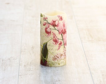 Orchid Flower Flameless Pillar Candle, Pink Orchid Home Decor, Orchid LED Candle, Nature Lovers Gift, Mothers Birthday Gift, Teachers Gift