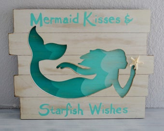 Mermaid Wall Decor. Mermaid Decor. Mermaid with Shell. Mermaid. Beach Decor. Nautical Decor. Coastal Decor. Nursery, Little Girls Room