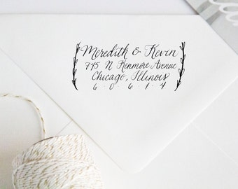 Return Address Wood Handle Rubber Stamp with Olive Leaf Branches and Custom Calligraphy
