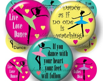 Ballet, Dance, Instant Download, Digital Collage Sheet, Bottle Cap Images, Printable 1 Inch Circles, (No.1) Cupcake Toppers, Jewelry, Magnet