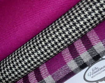 HARRIS TWEED FABRIC 100% pure virgin wool with authenticity labels (3 Piece Bundle 75cm by 50cm) Pink Tartan & Black and White Houndstooth