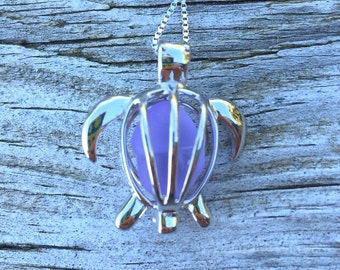 Sea Glass Turtle Purple Lavender Locket  Sterling Silver Honu by Wave of Life