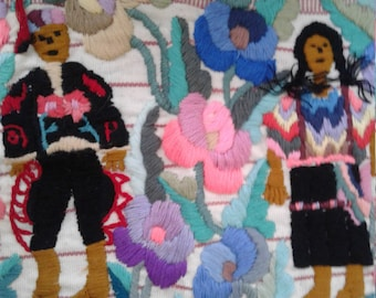Vtg 80s/90s Embroidered Cloth from Guatemala