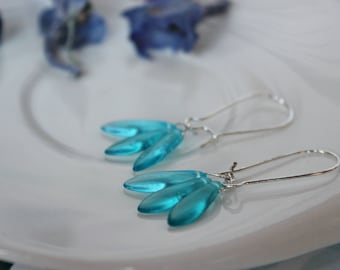Blue  Earrings | Gemstone Earrings | Light Aqua Blue Gemstone Earrings | Light Blue Drop Earrings | Briolette Earrings | Mom,Gift to Her