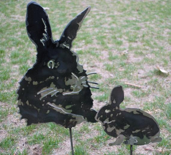 Rabbit Head Metal Garden Stake, Rabbit Metal Garden Stake, Bunny Rabbit, Metal Yard Art, Farm Animal, Rabbit Statue, Gift for the Gardener