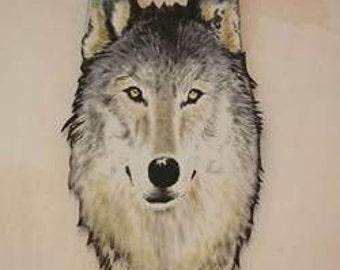 wolf mural on board