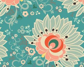 Euphloria Coral, Rapture Collection, Floral Fabric, Art Gallery Fabrics, Pat Bravo, RPT-2704