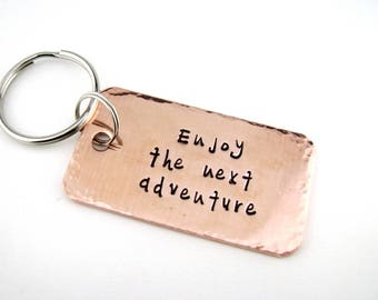 Retirement Gift for Men, Graduation Keychain, Enjoy the Next Adventure, Moving On Gift, Coworker Leaving, Employee Promotion Gift