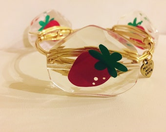 Strawberry Wire Wrapped Bangle Bracelet  *Bourbon and Boweties Inspired*