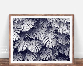 Monstera Leaves, Tropical Leaves Print, Botanical, Tropical Wall Art Decor, Botanical Wall Print, Black and White, Palm Leaf Poster, Leaf