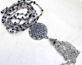 Tassle Necklace, Long Boho Necklace, Bohemian Necklace, Long Necklace, Black Spinel Gemstone, Crochet Necklace, Layering Necklace, Beaded