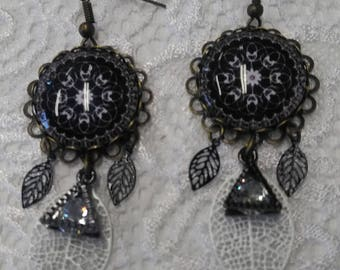 Earrings, black and white mandala, rhinestone, filigree