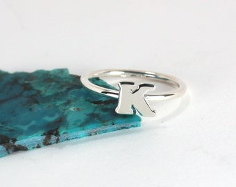 Initial Stacking Ring, Sterling Silver, Made to Order