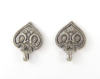 Ornate Earring Post Finding, Antique Silver Tribal Carved Detailed Moroccan Earring Top Jewelry Component |Q1-15|2