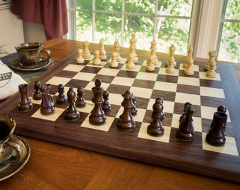 Tournament Size Wooden Chess Set | Chess Board With Wooden Chess Pieces |  Walnut And Maple