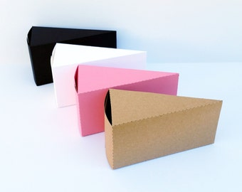 Cake Slice Small Gift Box Set (choose your colors) 10 pcs - Favors, DIY, Candy, Parties, Birthday, Wedding, Jewelry, Balloon Weight