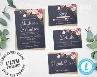 Blue Floral Wedding Invitation Template Set, Floral Wedding Invite, Instant Download, Printable Invitation, Easy to Edit Wedding Invites