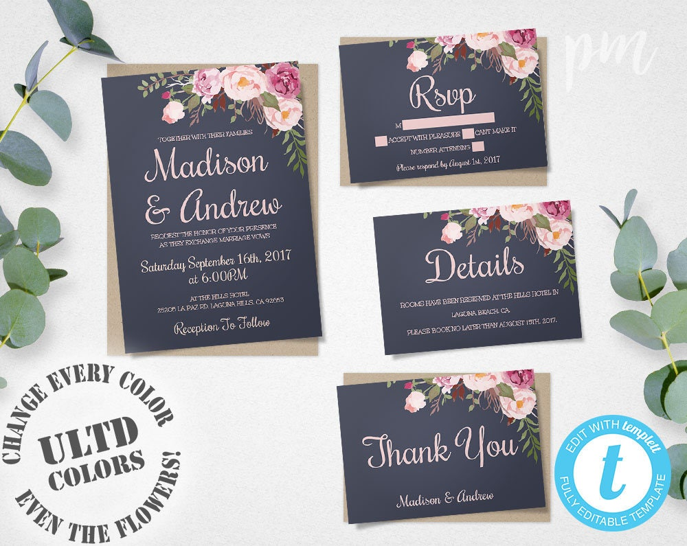 Blue floral wedding invitation template set floral wedding zoom stopboris Images