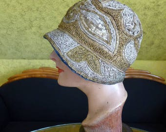 1920s Gold Sequin Embroidery Cloche, antique hat, Flapper Hat