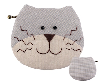 Teens Easy Patchwork Sewing Kit Cat Purse Bag Craft Project to Sew for Beginner