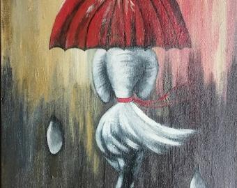 Rainy Day Acrylic Painting 12x16 Art Print, Rainy Day Painting, Lady with umbrella
