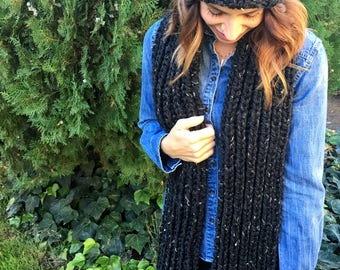 Knit Scarf with Fringe // Chunky Knit Fringed Scarf // Ribbed Scarf for Women // THE DAE