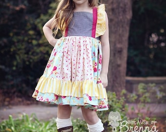 Nova's Square Flutter Top and Dressi PDF Pattern Sizes 6-12m to 8 girls