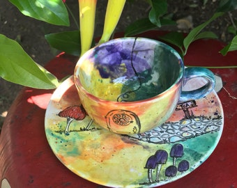 Whimsical colorful rainbow mushroom tea cup and Saucer