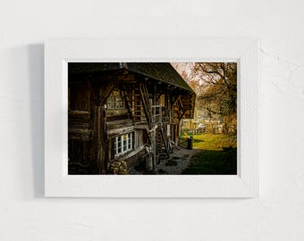 Farmhouse prints, cabin, countryside, INSTANT DOWNLOAD, 4jpg files, retro style, grass trees, house, digital print, wall art, printable gift