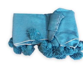 Moroccan Cotton  Pom Poms Blanket, Pom Pom cotton blanket, decorative pillows,home décor.PC12
