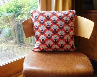 Retro design barkcloth cushion in tomato red