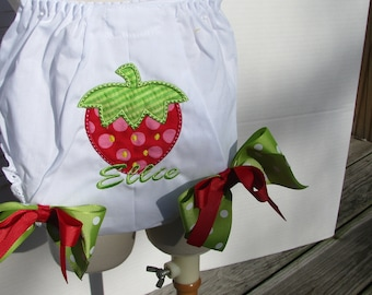 red strawberry birthday Bloomer,  strawberry birthday,  1st birthday bloomers , 2nd birthday strawberry diaper cover, strawberry shortcake
