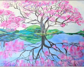cherry blossom, tree of life painting, pink painting, home styling, home decor, tree painting, home design, anniversary, gift for mom,