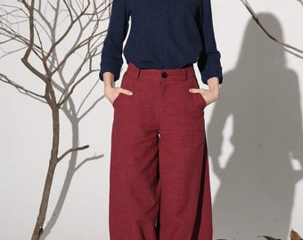 red pant, linen pant, maxi pant, womens pants, loose fitted pant, casual pants, summer pant, pant with pockets, plus size pant (1160)