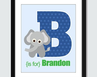 Elephant Initial With Personalized Name Wall Art - 8x 10 Baby Children Nursery Monogram Wall Print Poster