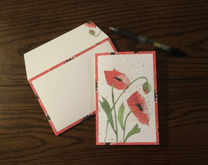 "Watercolor Poppies ~ Matching Card and Envelope Set (4"" x 6"" Folded) Digital Download ~ Printable / Blank Card / Poppies / Watercolor /Art"