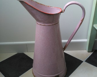 White speckled pink enameled pitcher french vintage